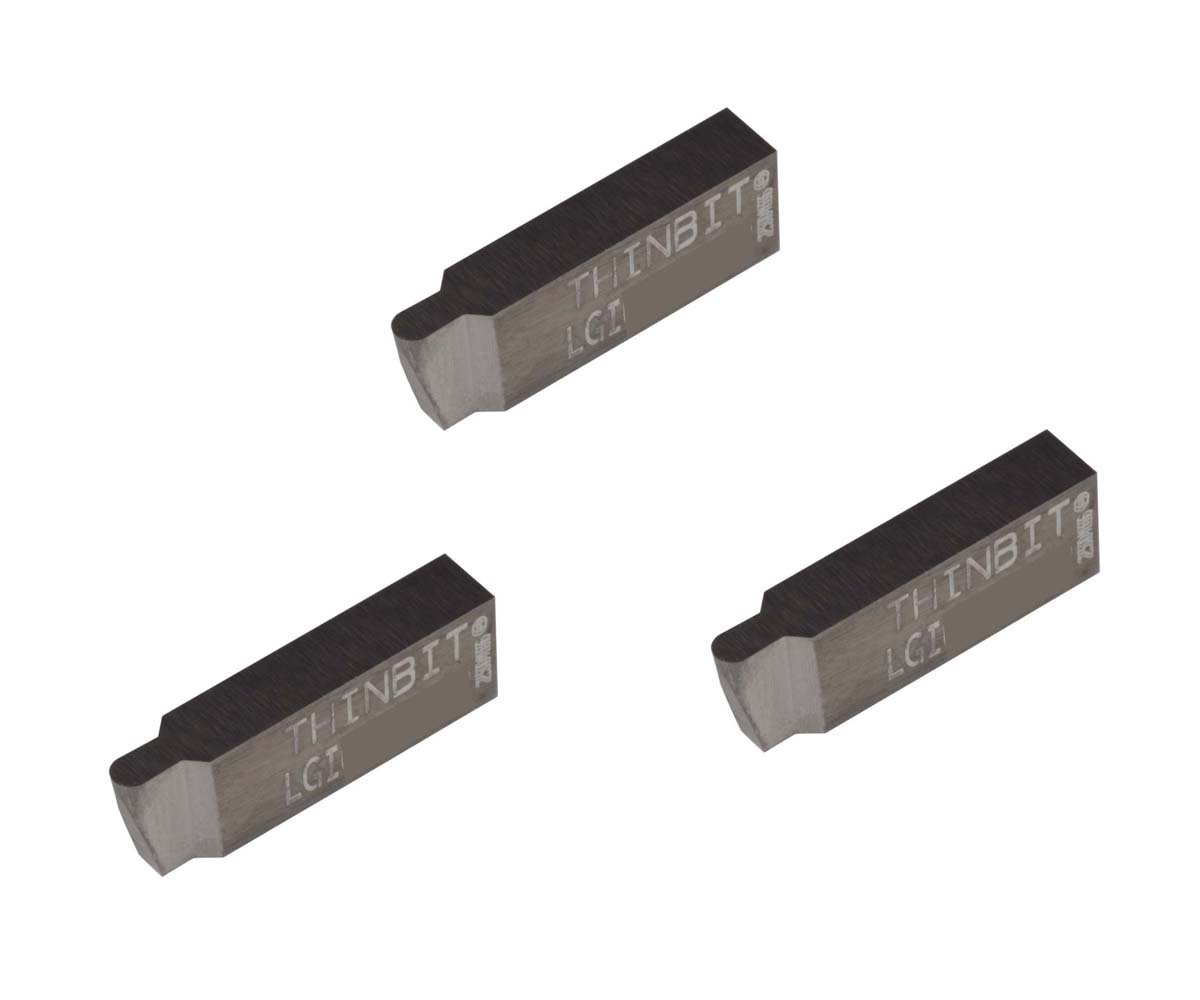 Uncoated Carbide Aluminium and Plastic Without Interrupted Cuts Grooving Insert for Non-Ferrous Alloys THINBIT 3 Pack LGI064D5CR010 0.064 Width 0.096 Depth Corner Radius 0.010