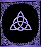India Arts Celtic Trinity Knot Tapestry Heavy Cotton Spread 96'' x 86'' Purple