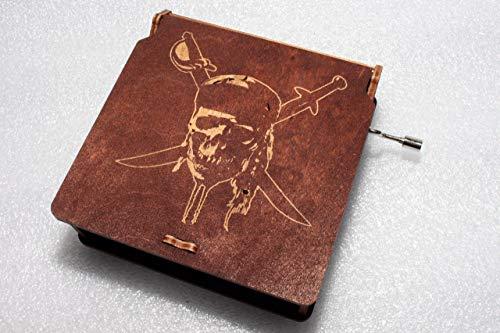 Pirate Skull Music Box - Pirates Of The Caribbean Davy Jones Locket Jack Sparrow - Engraved Wooden Box - Hand Crank Movement