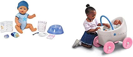 Amazon.com: BABY born Interactive Boy Doll (Blue Eyes) and Little Tikes Classic Doll Buggy - Bundle: Toys & Games