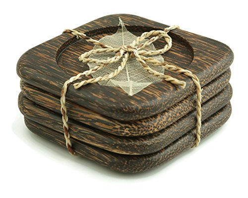 IYARA CRAFT Wooden Coasters for Drinks Tea Cups Saucers,Table topper decoration set (Square Rounded (Palm wood)) - Wood Desk Topper