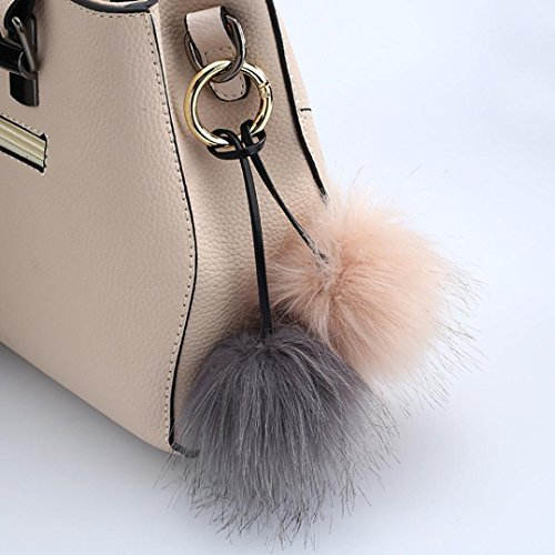 - Yeefant Korean Version Personality Fashion Bags Accessories Hit Color Imitation Fox Fur Ball Pendant Handbags Ornaments Plush Keychain Car Key Ring