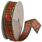 50 yard wired ribbon - Morex Ribbon Splendor Wired Plaid Fabric Ribbon, 1-1/2-Inch by 50-Yard Spool, Red