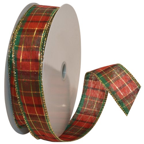 (Morex Ribbon Splendor Wired Plaid Fabric Ribbon, 1-1/2-Inch by 50-Yard Spool, Red)