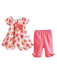 Mud Kingdom Summer Outfits for Girls Cute Printing Bow Decoration