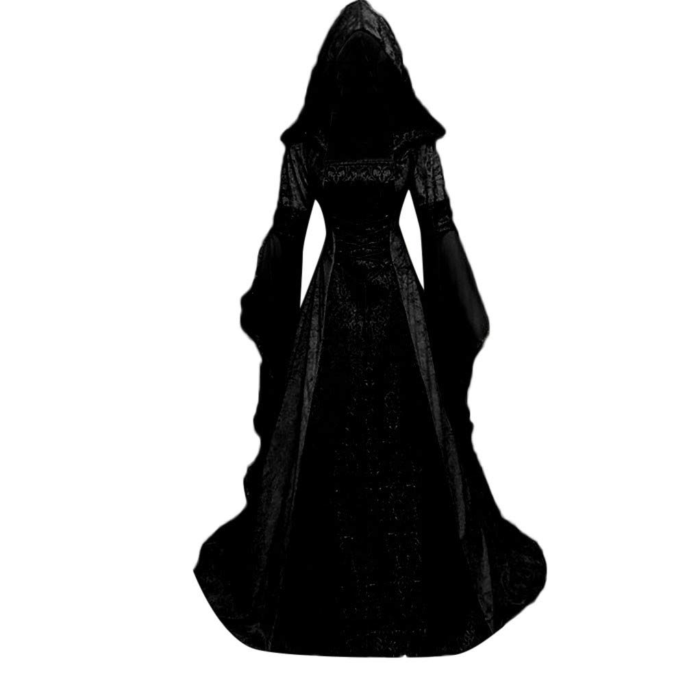 Halloween Women Medieval Dress Renaissance Lace Up Vintage Style Gothic Dress Floor Length Women Hooded Cosplay Dresses Retro (Black, 4XL)