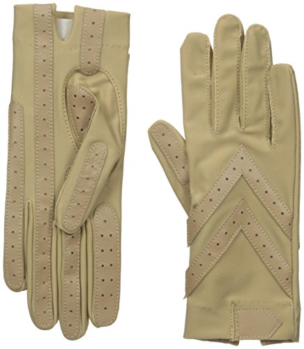 Isotoner Women's Spandex Shortie Gloves with Leather Palm Strips, Camel, One Size