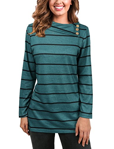 UXELY Striped Sweatshirt,Cowl Neck Sweater Mother's Day Gift Stripes Pullover Tops,Green M Cowl Neck Striped Sweater