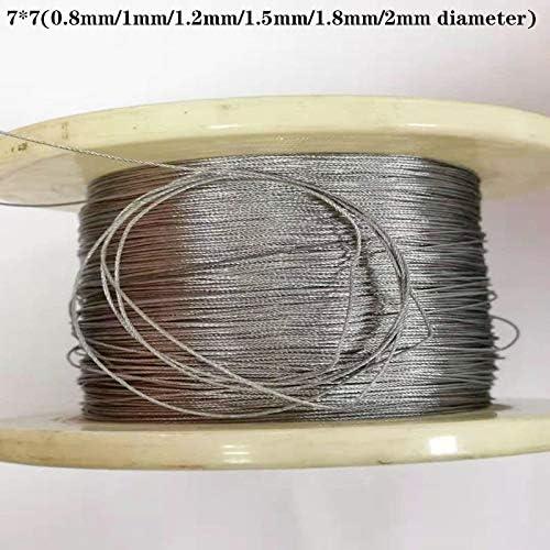 Without brand 10M 304 Edelstahl Drahtseil Weichere Angeln Hubseil 7X7 Struktur 0,8 mm, 1 mm, 1,2 mm, 1,5 mm, 1,8 mm, Durchmesser (Größe : 1.5mm 10M)