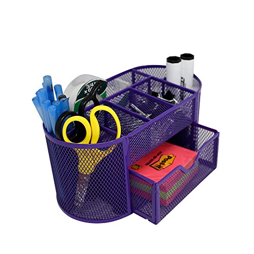 (Mesh Desk Organizer 9 Components Office Accessories Supply Caddy with Drawer, Purple)