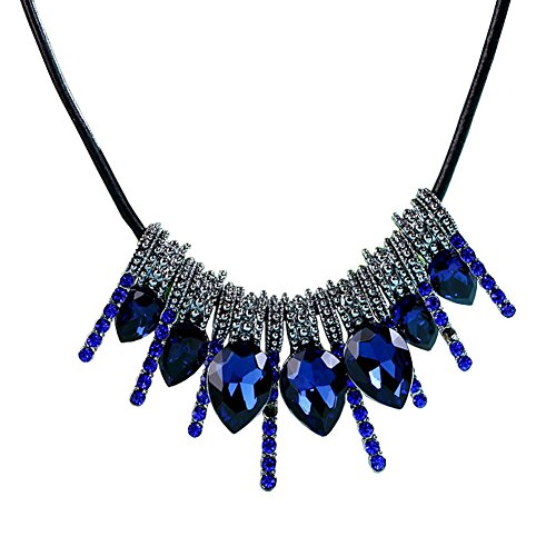 Everrich Women Crystal Pendant Chain Choker Statement Bib Blue Red Necklace Chunky Bling Cluster Jewelry - Dark Blue Pendant Necklace