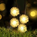 Chuzzle Ball Solar String Lights, LOENDE 50 LED 23FT 8 Modes Warm White Waterproof Decorative Dandelion String Lights for Thanksgiving, Party, Outdoor, Indoor, Xmas Tree, Holiday, New Year Decor