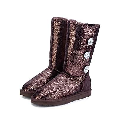 Amazon.com | Women's Fur Winter Boots Waterproof Genuine