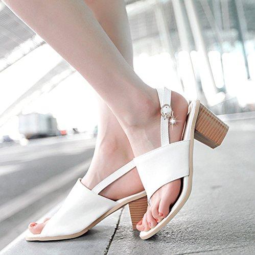 Toe Blanc Fermeture Mode Aisun Boucle Clip Fantaisie Sandales Femme à xzqwYFw