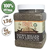Pride Of India - Raw Black Chia Seed Meal Flour - Cold Milled - Omega-3 & Fiber Superfood, 1 Pound (16oz) Jar