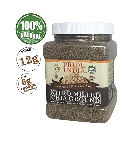 (Pride Of India - Raw Black Chia Seed Meal Flour - Cold Milled - Omega-3 & Fiber Superfood, 1 Pound (16oz))
