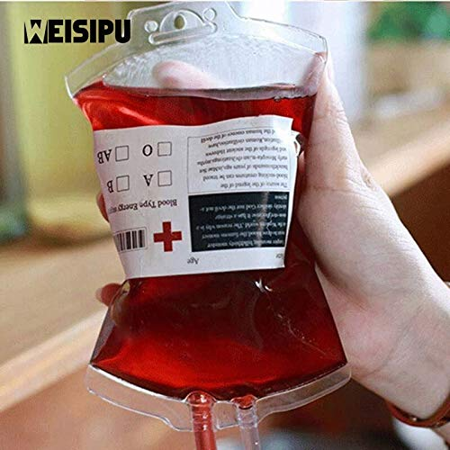 4pcs Creative 400ml Reusable Blood Energy Drink Bag Halloween Pouch Props Vampire Cosplay Party DIY Decoration -