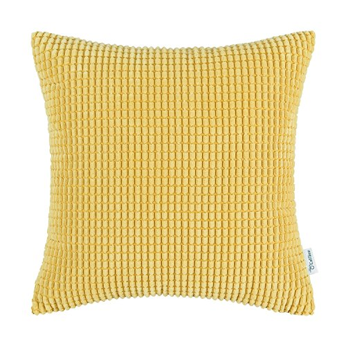 Yellow Striped Pillow - CaliTime Cozy Throw Pillow Cover Case for Couch Sofa Bed Comfortable Supersoft Corduroy Corn Striped Both Sides 18 X 18 Inches Gold Yellow