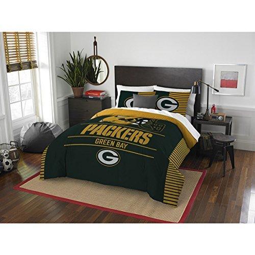 Image of 3 Piece NFL Green Bay Packers Comforter Full Queen Set, Sports Patterned Bedding, Featuring Team Logo, Fan Merchandise, Team Spirit, Football Themed, National Football League, Green, Yellow, Unisex