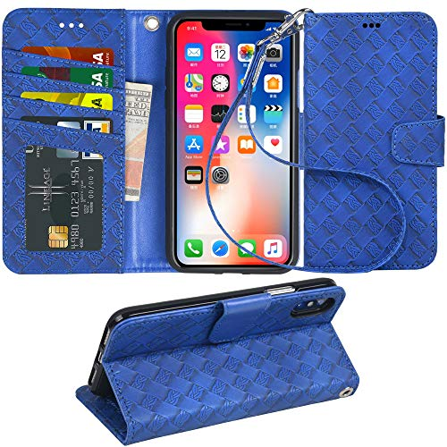 Arae Case for iPhone X/Xs, Premium PU Leather Wallet Case [Wrist Straps] Flip Folio [Kickstand Feature] with ID&Credit Card Pockets for iPhone X (2017) / Xs (2018) 5.8 inch (not for Xr) (Weave Blue)