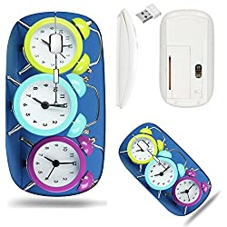 Liili Wireless Mouse White Base Travel 2.4G Wireless Mice with USB Receiver, Click with 1000 DPI for notebook, pc, laptop, computer, mac book IMAGE ID: 21249140 Colorful clock on blue background