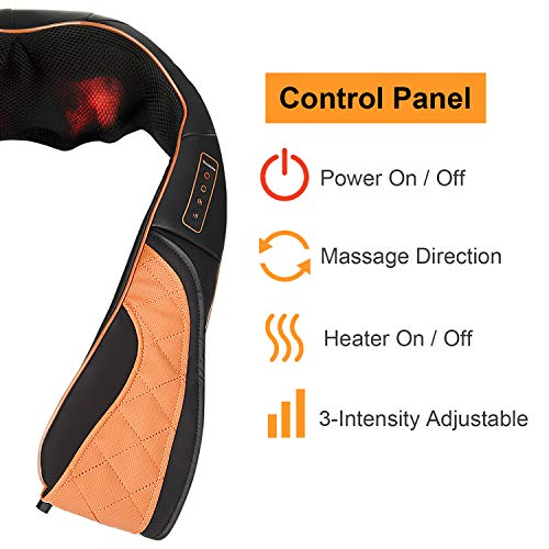 Shiatsu Neck Shoulder Back Massager with Heat and Carry Bag - Electric Massage Pillow with Deep Tissue Kneading for Lower Back, Calf, Leg Muscle Pain Relief - Use at Home, Office, and Car