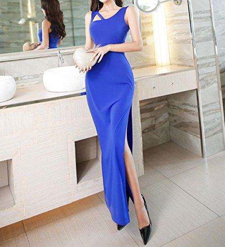 cocktail maglia party da lunga elastica donna a lavorata party maglia sera in per manica da Acvip blu Abito YFw1aqq