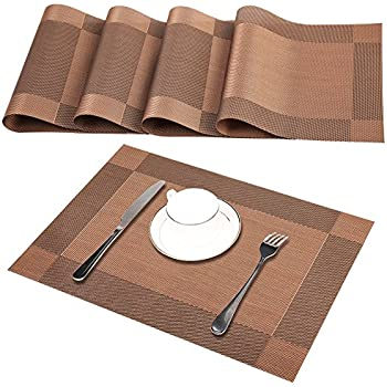 Placemats Washable, Set Of 4 Brown Heat Resistant PVC Table Place Mats,  Woven