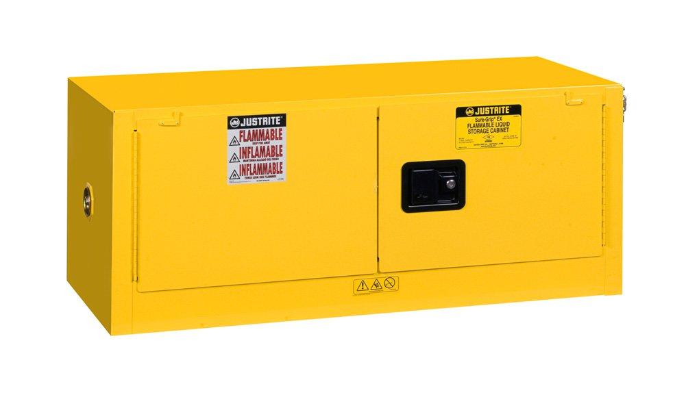 Justrite 891300 Sure-Grip EX Galvanized Steel 2 Door Manual Piggyback Flammables Safety Storage Cabinet, 12 Gallon Capacity, 43'' Width x 18'' Height x 18'' Depth, Yellow