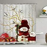 BLEUM CADE Christmas Shower Curtain with 12 Hooks Snowman Red Xmas Ball Birds Shower Curtain Set Waterproof Bathroom Shower Curtains for Christmas Decoration