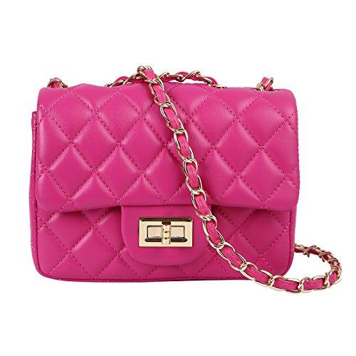 HDE Womens Quilted Crossbody Bag Designer Quality Mini Purse Handbag Metal Chain -