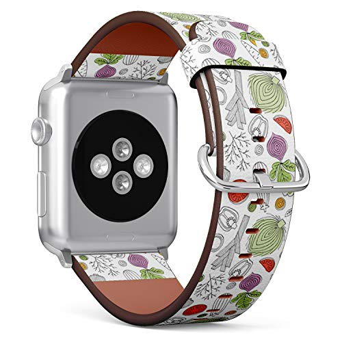 Compatible with Apple Watch (Big Version) 42 / 44mm Leather Wristband Bracelet with Stainless Steel Clasp and Adapters - Minimalist Vegetables Linear