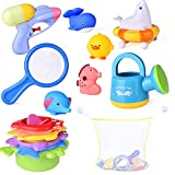 FUN LITTLE TOYS 15 PCs Baby Bath Toys with Ocean Animals Bath Squirters Toys, Stacking Cups, Water Blaster Toys, Watering Can, Fishing Net and Bath Toy Organizer