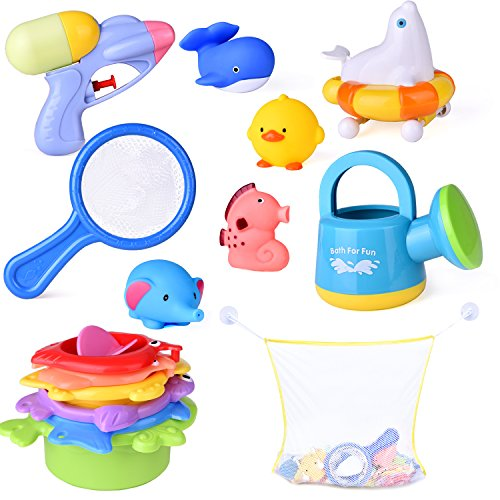 15 PCs Baby Bath Toys with Ocean Animals Bath Squirters Toys, Stacking Cups, Water Blaster Toys, Watering Can, Fishing Net and Bath Toy Organizer by FUN LITTLE TOYS