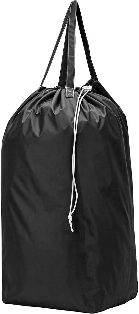 HOMEST Nylon Laundry Bag with Handles, Square Base Can Hold Up to 3 Loads of Clothes, Drawstring Closure and Machine Washable, Camping Gear Storage Bag, Black