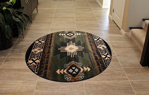 South West Area Rug Design Concord C318 Sage Green (4 Feet X 4 Feet) Round - South West green round area rug Made from 100% olefin with jute backing Durable, lays flat, easy to maintain and clean - living-room-soft-furnishings, living-room, area-rugs - 51y3EjzLPZL -