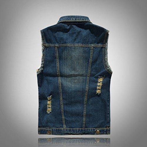 Manches Yijee De Classique Slim Sans Gilet Blouson Denim Casual Homme Revers Bleu En Veste Jean SHw8xS
