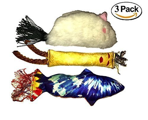 Catnip Toys Variety Pack Handmade by Grandma - Interactive Popular Stuffed with Organic Catnip Kicker Crinkle Paper Jingle Noise Variety 3 Pack Includes Fish, Stick Man and Mouse