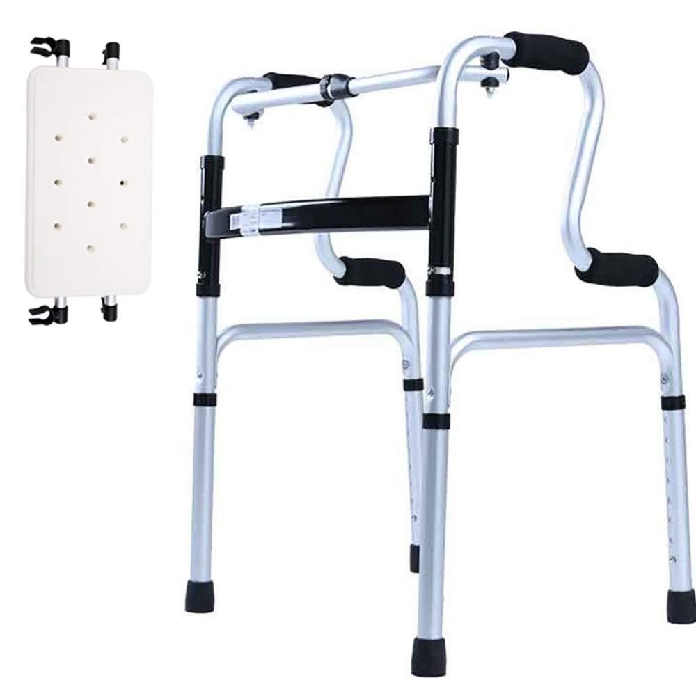 One-Button Folding, Aluminum Alloy, with Bath Plate, Wheeled Elderly Walker, Silver. (Size : Walker+Bath Board)