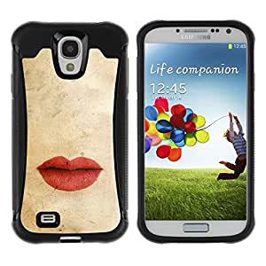 Suave TPU Caso Carcasa de Caucho Funda para Samsung Galaxy S4 I9500 / Pastel Red Love Kiss Vignette / STRONG