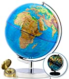 9 inch Illuminated World Globe & Compass by GetLifeBasics: See The Earth