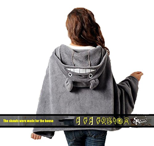 Hmlover The Cos Shawl Anime Totoro Coral Velvet Cape Cloak Air-conditioned Blanket Hoody Outlets - Cape Malls Coral