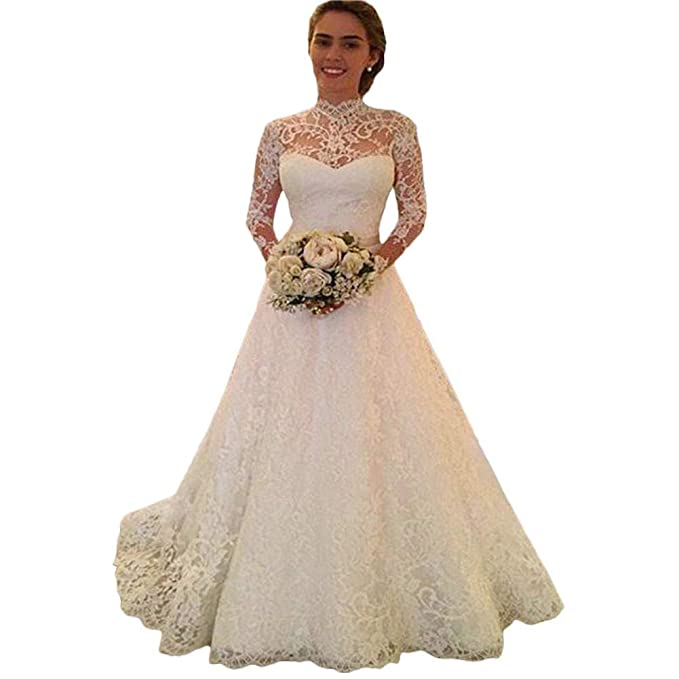 Amazon.com: ZHUOTOP - Vestido de novia para mujer, elegante ...