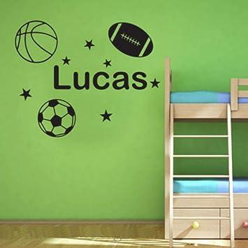 Etiqueta de la pared Personalizar nombre con balón de fútbol ...