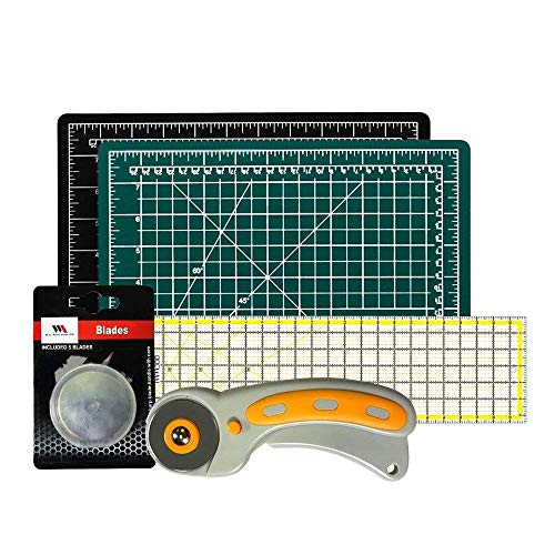 Rotary Cutter with Self Healing Mat &Quilting Ruler -Professional Quilting & Sewing Set (9x12)