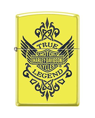 Harley Legend (Zippo Harley-Davidson True Legend Pocket Lighter, Neon Yellow)