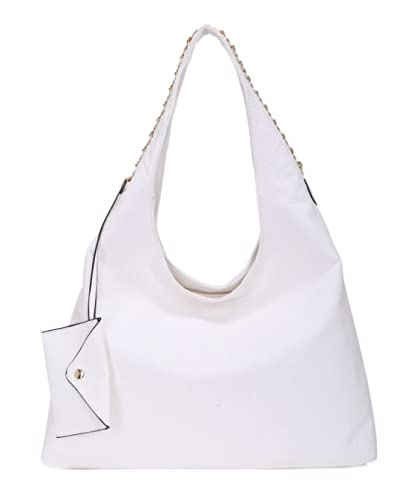 dda4de785363 Girly HandBags Womens Oversized Faux Leather Slouch Hobo Bag Small Purse  Chain Fashion Handbag - White