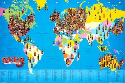 World map beer poster print 92x61 amazon kitchen home world map beer poster print 92x61 gumiabroncs Image collections