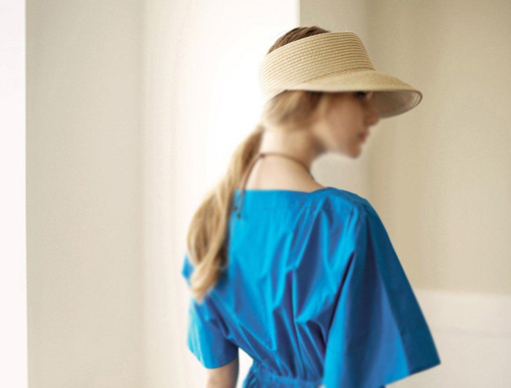 multicolore beige beige 56-58cm Chytaii Cappello da sole visiera Tennis in paglia cappello a bordo ampio Donna anti-soleil UV cappello di spiaggia viaggio sport protezione solare in estate