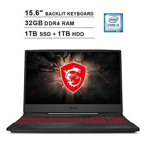 2020 Newest MSI GL65 15.6 Inch FHD 1080P Gaming Laptop (Intel 4-Core i5-9300H up to 4.1 GHz, NVIDIA GeForce GTX 1650 4GB, 32GB DDR4 RAM, 1TB SSD (Boot) + 1TB HDD, Backlit KB, WiFi, HDMI, Win 10)
